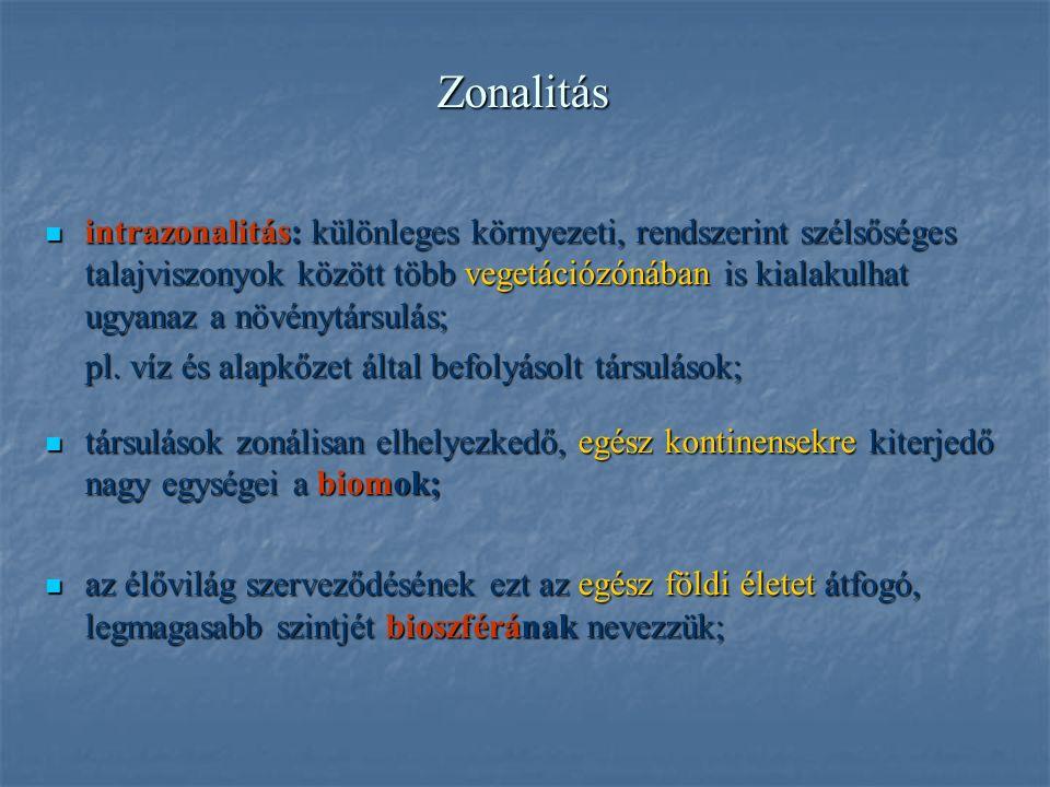 Zonalitás intrazonalitás: különleges környezeti, rendszerint szélsőséges talajviszonyok között több vegetációzónában is kialakulhat ugyanaz a növénytársulás; intrazonalitás: különleges környezeti, rendszerint szélsőséges talajviszonyok között több vegetációzónában is kialakulhat ugyanaz a növénytársulás; pl.