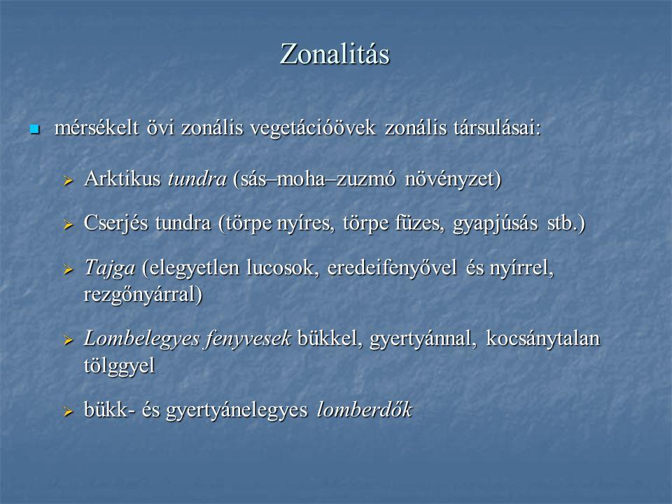 Zonalitás mérsékelt övi zonális vegetációövek zonális társulásai: mérsékelt övi zonális vegetációövek zonális társulásai:  Arktikus tundra (sás–moha–zuzmó növényzet)  Cserjés tundra (törpe nyíres, törpe füzes, gyapjúsás stb.)  Tajga (elegyetlen lucosok, eredeifenyővel és nyírrel, rezgőnyárral)  Lombelegyes fenyvesek bükkel, gyertyánnal, kocsánytalan tölggyel  bükk- és gyertyánelegyes lomberdők