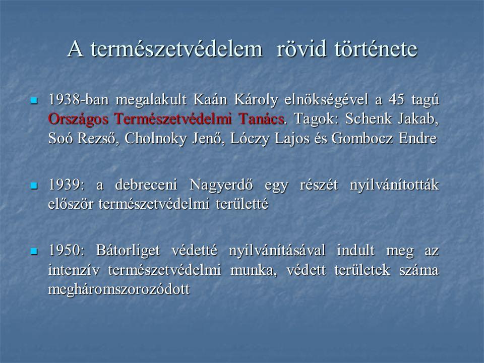 1938-ban megalakult Kaán Károly elnökségével a 45 tagú Országos Természetvédelmi Tanács. Tagok: Schenk Jakab, Soó Rezső, Cholnoky Jenő, Lóczy Lajos és
