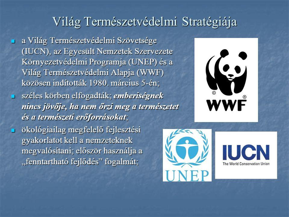 Világ Természetvédelmi Stratégiája a Világ Természetvédelmi Szövetsége (IUCN), az Egyesült Nemzetek Szervezete Környezetvédelmi Programja (UNEP) és a Világ Természetvédelmi Alapja (WWF) közösen indították 1980.