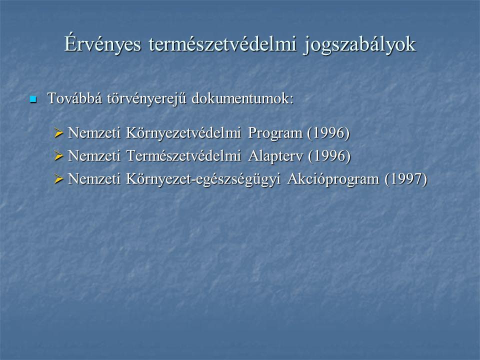 Érvényes természetvédelmi jogszabályok Továbbá törvényerejű dokumentumok: Továbbá törvényerejű dokumentumok:  Nemzeti Környezetvédelmi Program (1996)  Nemzeti Természetvédelmi Alapterv (1996)  Nemzeti Környezet-egészségügyi Akcióprogram (1997)