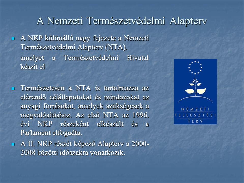 A Nemzeti Természetvédelmi Alapterv A NKP különálló nagy fejezete a Nemzeti Természetvédelmi Alapterv (NTA), A NKP különálló nagy fejezete a Nemzeti Természetvédelmi Alapterv (NTA), amelyet a Természetvédelmi Hivatal készít el Természetesen a NTA is tartalmazza az elérendő célállapotokat és mindazokat az anyagi forrásokat, amelyek szükségesek a megvalósításhoz.