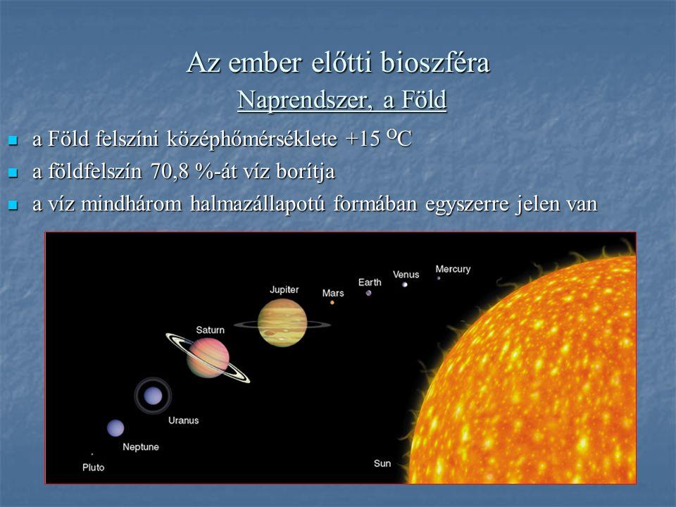 Az ember előtti bioszféra Naprendszer, a Föld a Föld felszíni középhőmérséklete +15 O C a Föld felszíni középhőmérséklete +15 O C a földfelszín 70,8 %