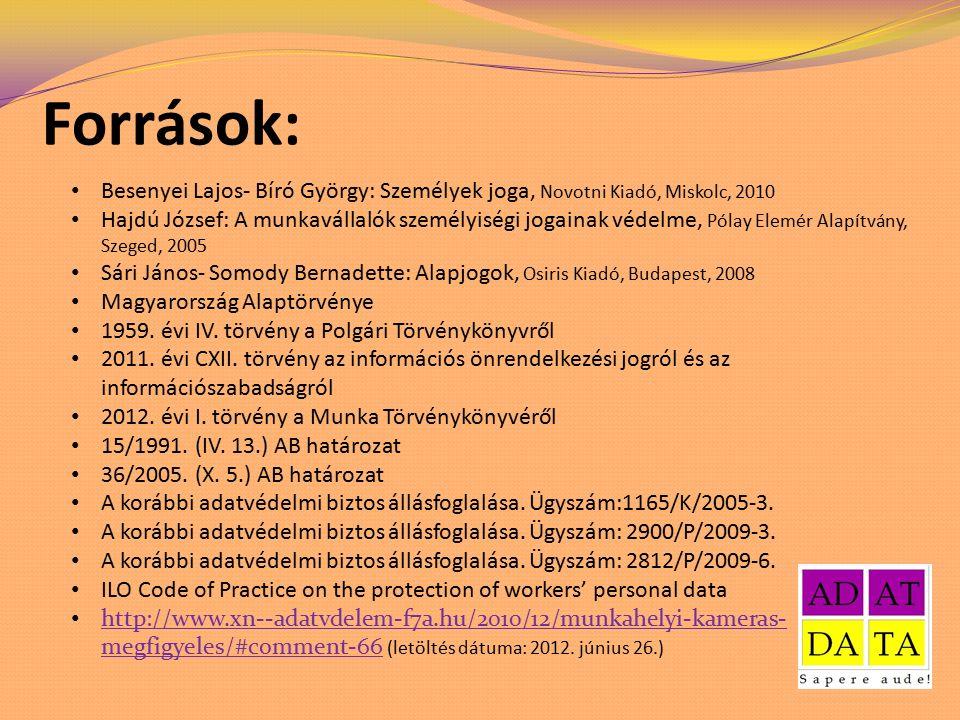 Források: Besenyei Lajos- Bíró György: Személyek joga, Novotni Kiadó, Miskolc, 2010 Hajdú József: A munkavállalók személyiségi jogainak védelme, Pólay