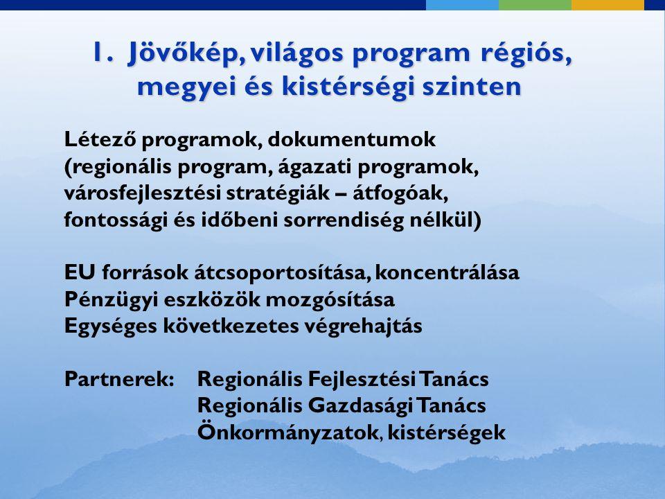 1. Jövőkép, világos program régiós, megyei és kistérségi szinten Létező programok, dokumentumok (regionális program, ágazati programok, városfejleszté