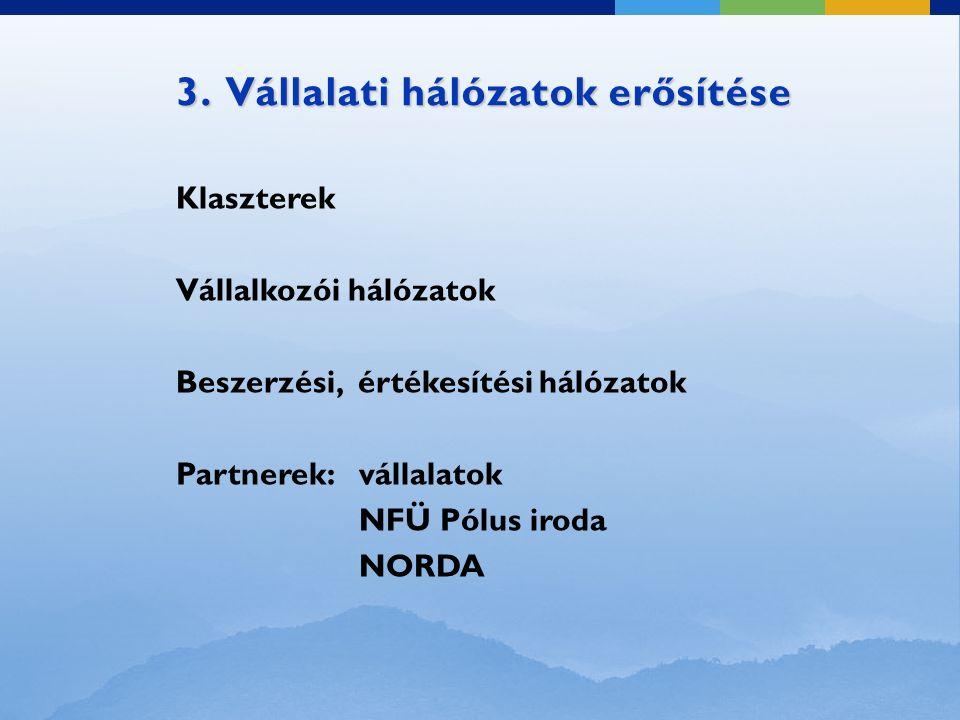 3. Vállalati hálózatok erősítése Klaszterek Vállalkozói hálózatok Beszerzési, értékesítési hálózatok Partnerek: vállalatok NFÜ Pólus iroda NORDA