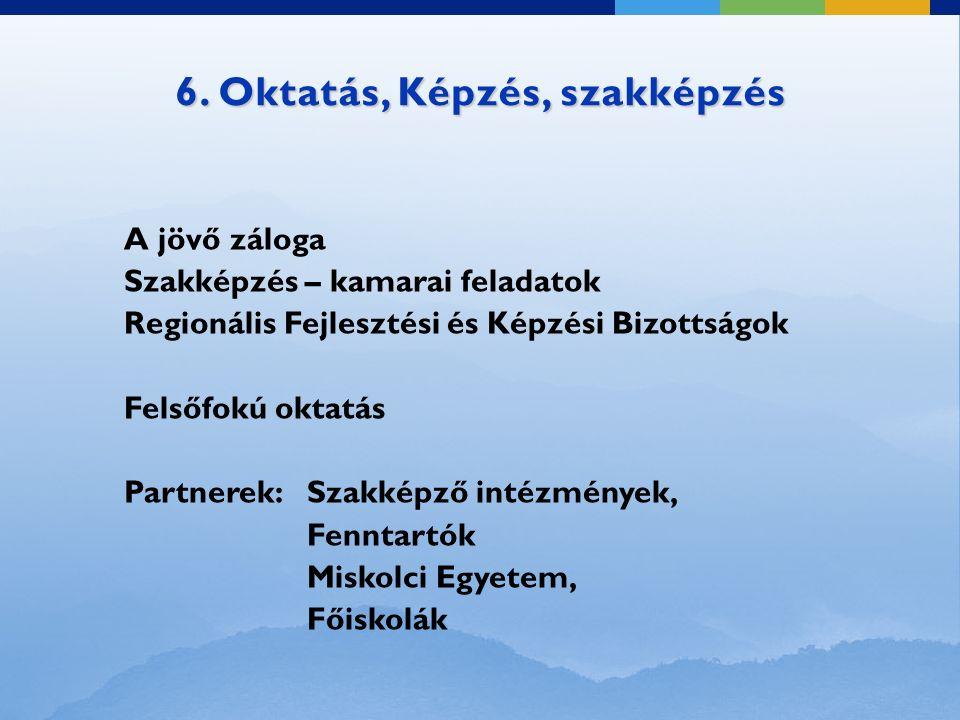 6. Oktatás, Képzés, szakképzés A jövő záloga Szakképzés – kamarai feladatok Regionális Fejlesztési és Képzési Bizottságok Felsőfokú oktatás Partnerek:
