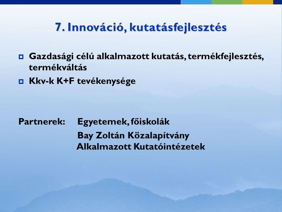 7. Innováció, kutatásfejlesztés  Gazdasági célú alkalmazott kutatás, termékfejlesztés, termékváltás  Kkv-k K+F tevékenysége Partnerek: Egyetemek, fő