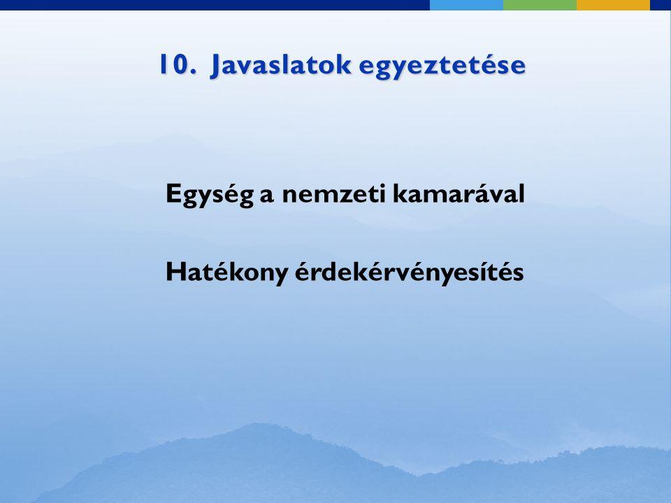 10. Javaslatok egyeztetése Egység a nemzeti kamarával Hatékony érdekérvényesítés