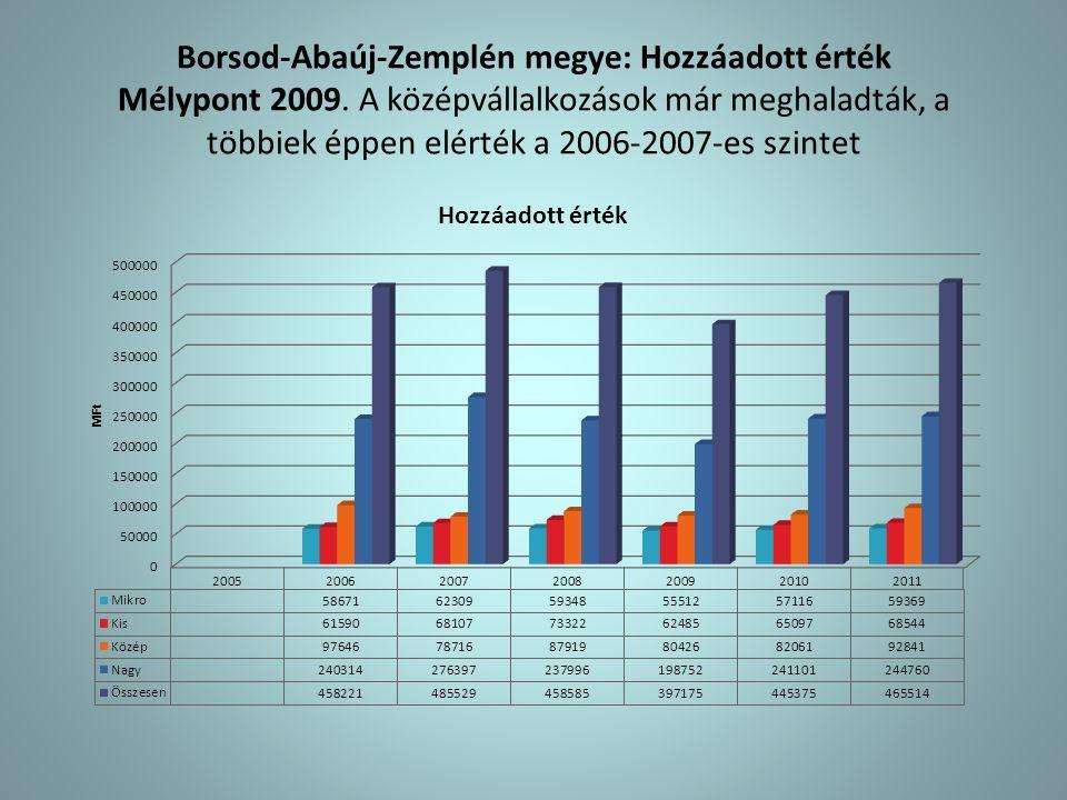 Borsod-Abaúj-Zemplén megye: Hozzáadott érték Mélypont 2009.