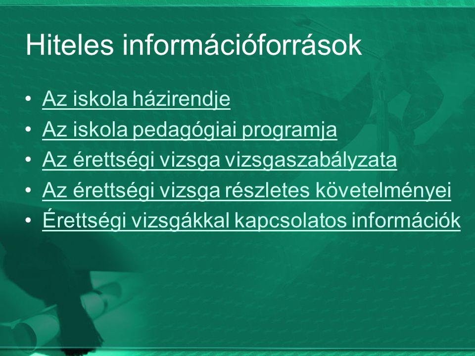 Hiteles információforrások Az iskola házirendje Az iskola pedagógiai programja Az érettségi vizsga vizsgaszabályzata Az érettségi vizsga részletes követelményei Érettségi vizsgákkal kapcsolatos információk