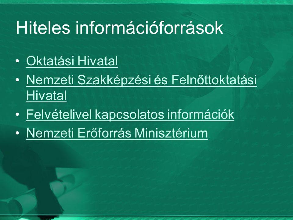 Hiteles információforrások Oktatási Hivatal Nemzeti Szakképzési és Felnőttoktatási HivatalNemzeti Szakképzési és Felnőttoktatási Hivatal Felvételivel kapcsolatos információk Nemzeti Erőforrás Minisztérium