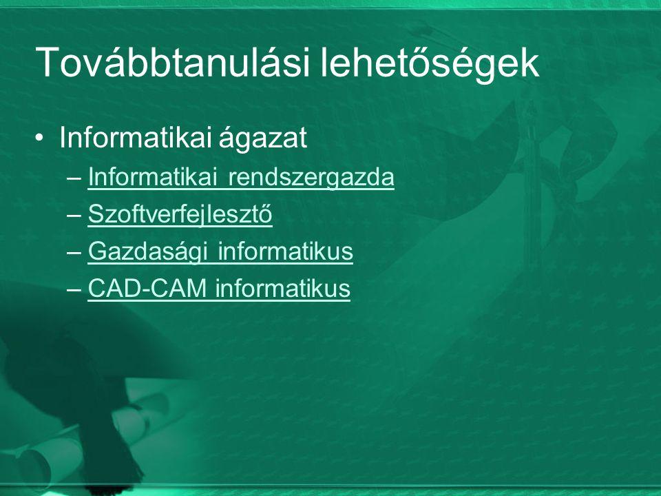 Továbbtanulási lehetőségek Informatikai ágazat –Informatikai rendszergazdaInformatikai rendszergazda –SzoftverfejlesztőSzoftverfejlesztő –Gazdasági informatikusGazdasági informatikus –CAD-CAM informatikusCAD-CAM informatikus