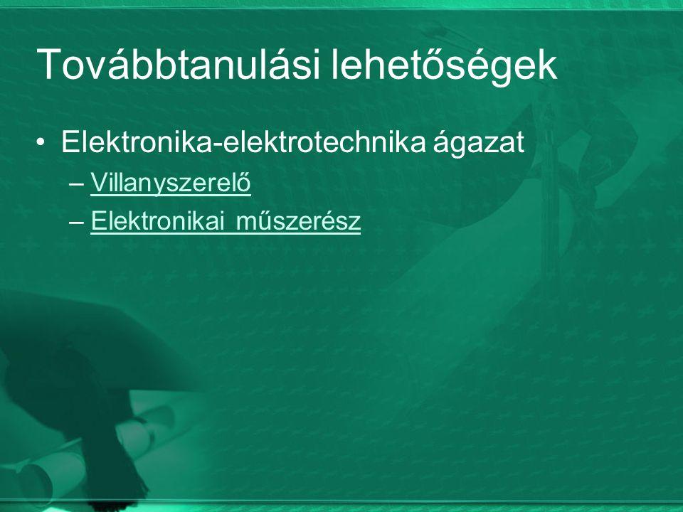 Továbbtanulási lehetőségek Elektronika-elektrotechnika ágazat –VillanyszerelőVillanyszerelő –Elektronikai műszerészElektronikai műszerész