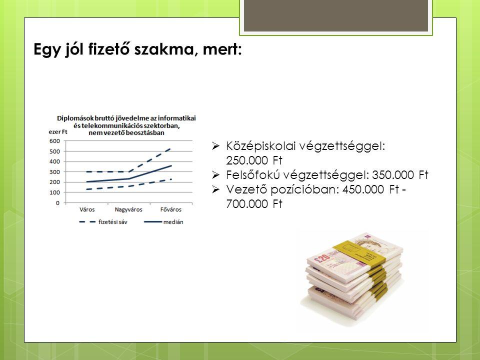 Egy jól fizető szakma, mert:  Középiskolai végzettséggel: 250.000 Ft  Felsőfokú végzettséggel: 350.000 Ft  Vezető pozícióban: 450.000 Ft - 700.000 Ft