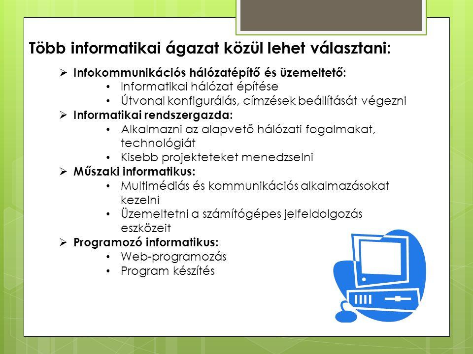 Több informatikai ágazat közül lehet választani:  Infokommunikációs hálózatépítő és üzemeltető: Informatikai hálózat építése Útvonal konfigurálás, címzések beállítását végezni  Informatikai rendszergazda: Alkalmazni az alapvető hálózati fogalmakat, technológiát Kisebb projekteteket menedzselni  Műszaki informatikus: Multimédiás és kommunikációs alkalmazásokat kezelni Üzemeltetni a számítógépes jelfeldolgozás eszközeit  Programozó informatikus: Web-programozás Program készítés