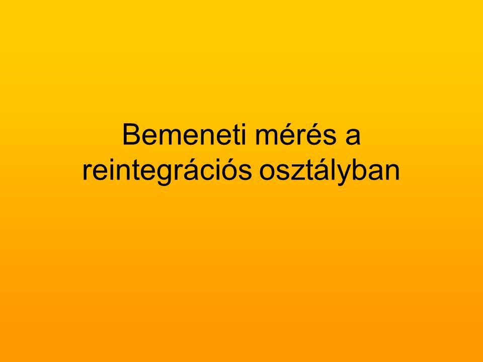 Bemeneti mérés a reintegrációs osztályban