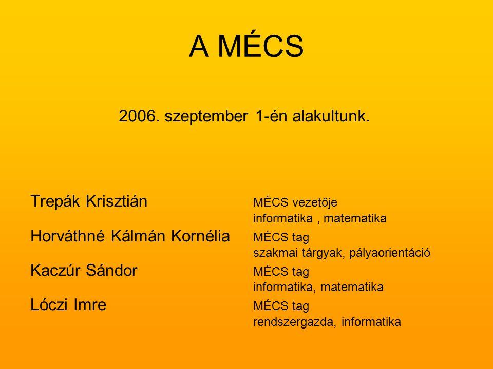 A MÉCS Trepák Krisztián MÉCS vezetője informatika, matematika Horváthné Kálmán Kornélia MÉCS tag szakmai tárgyak, pályaorientáció Kaczúr Sándor MÉCS tag informatika, matematika Lóczi Imre MÉCS tag rendszergazda, informatika 2006.