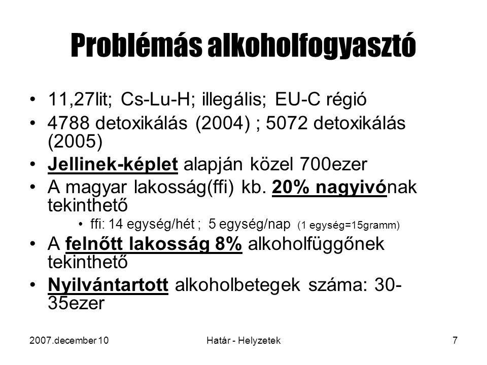 2007.december 10Határ - Helyzetek7 Problémás alkoholfogyasztó 11,27lit; Cs-Lu-H; illegális; EU-C régió 4788 detoxikálás (2004) ; 5072 detoxikálás (2005) Jellinek-képlet alapján közel 700ezer A magyar lakosság(ffi) kb.