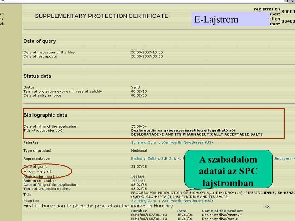 E-Lajstrom A szabadalom adatai az SPC lajstromban 28