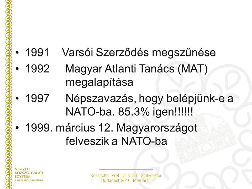1991 Varsói Szerződés megszűnése 1992 Magyar Atlanti Tanács (MAT) megalapítása 1997Népszavazás, hogy belépjünk-e a NATO-ba. 85.3% igen!!!!!! 1999. már