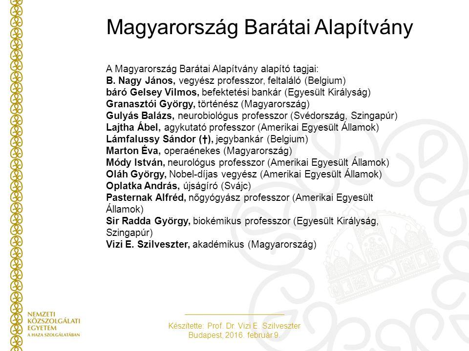 Készítette: Prof. Dr. Vizi E. Szilveszter Budapest, 2016. február 9. Magyarország Barátai Alapítvány A Magyarország Barátai Alapítvány alapító tagjai: