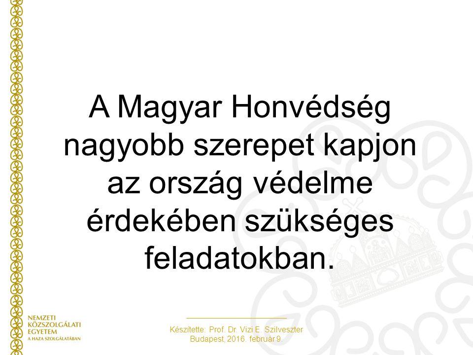 Készítette: Prof. Dr. Vizi E. Szilveszter Budapest, 2016. február 9. A Magyar Honvédség nagyobb szerepet kapjon az ország védelme érdekében szükséges