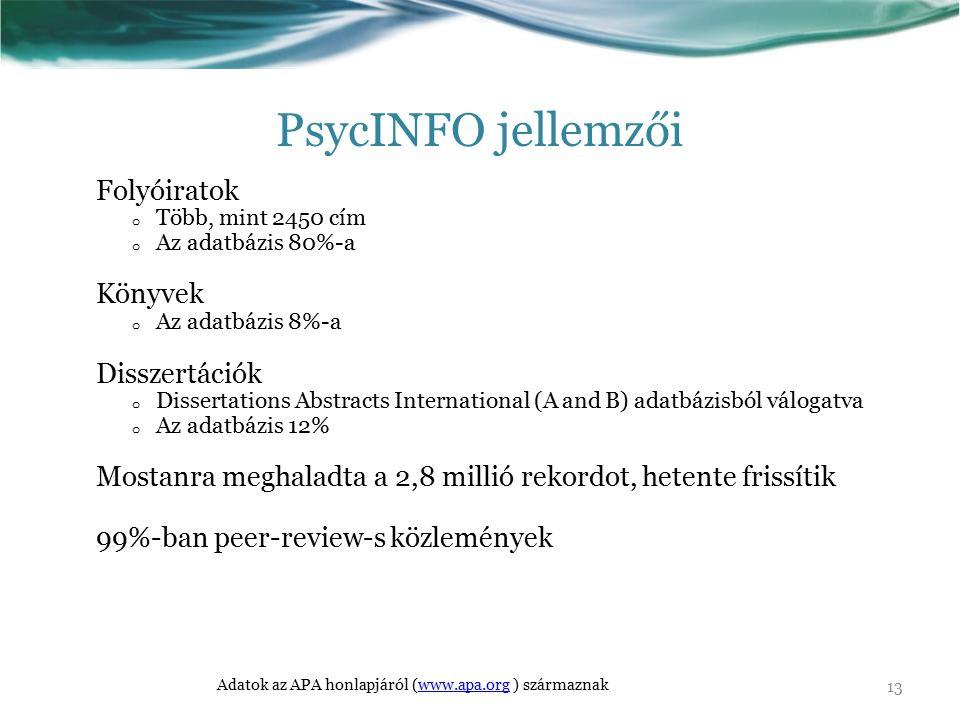 PsycINFO jellemzői Folyóiratok o Több, mint 2450 cím o Az adatbázis 80%-a Könyvek o Az adatbázis 8%-a Disszertációk o Dissertations Abstracts Internat