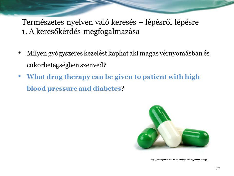 Természetes nyelven való keresés – lépésről lépésre 1. A keresőkérdés megfogalmazása Milyen gyógyszeres kezelést kaphat aki magas vérnyomásban és cuko