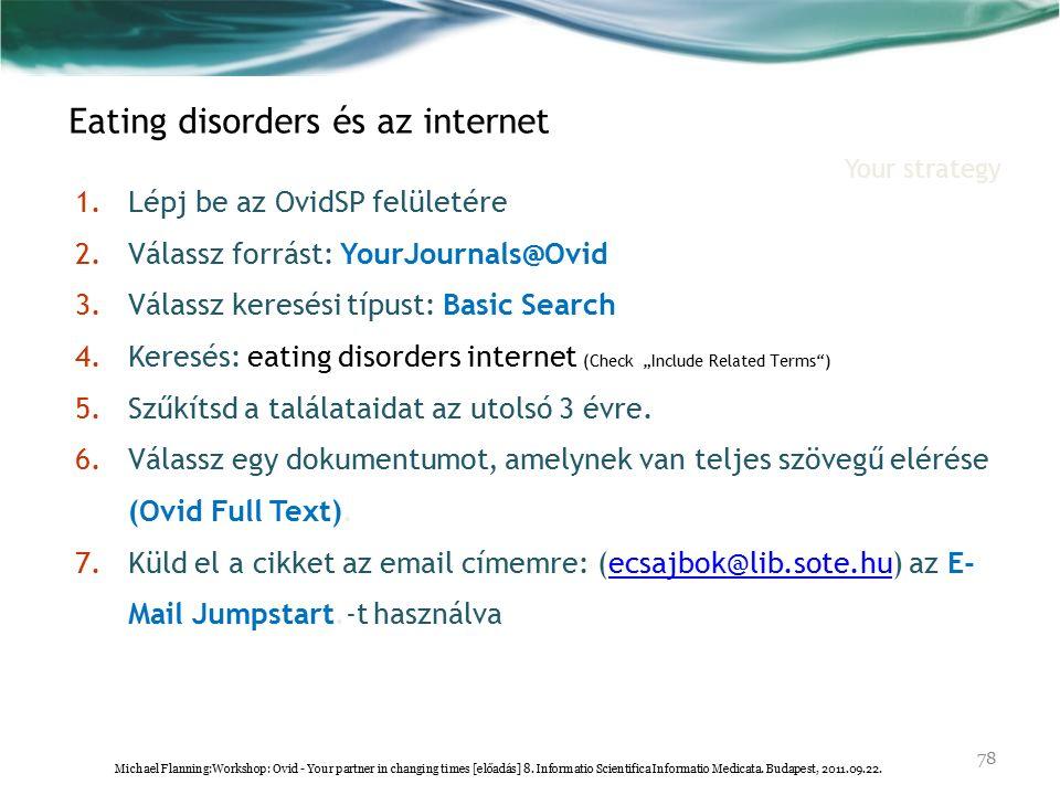 """1.Lépj be az OvidSP felületére 2.Válassz forrást: YourJournals@Ovid 3.Válassz keresési típust: Basic Search 4.Keresés: eating disorders internet (Check """"Include Related Terms ) 5.Szűkítsd a találataidat az utolsó 3 évre."""