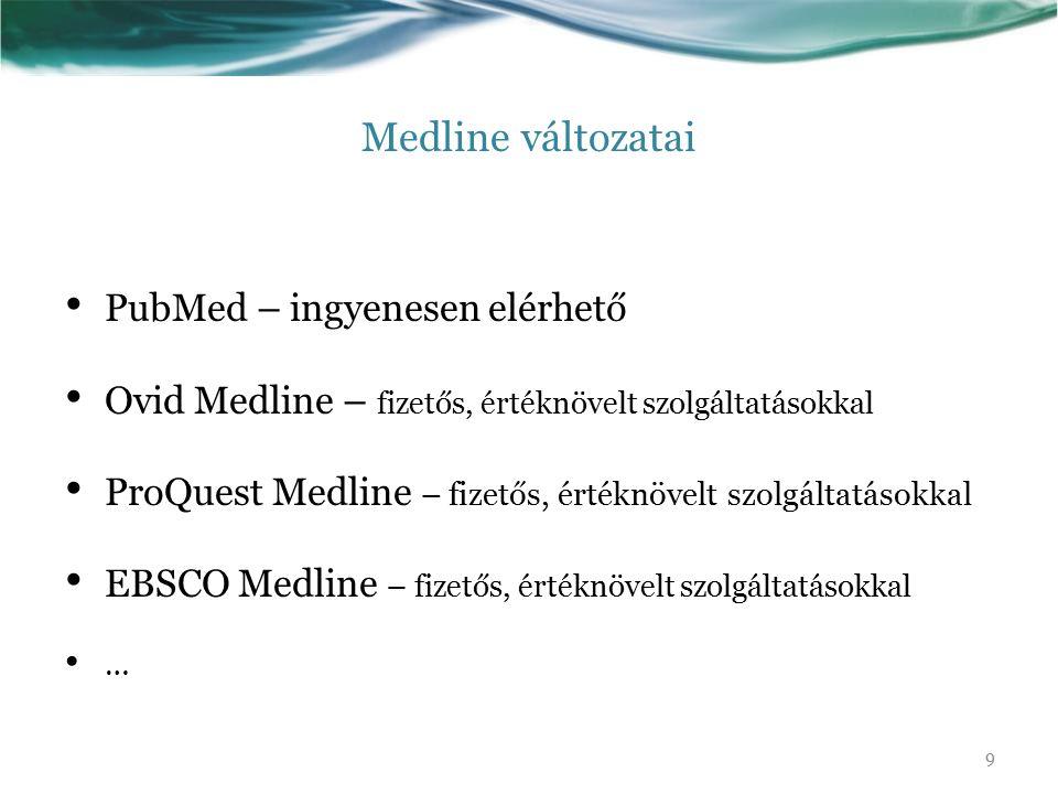 Medline változatai PubMed – ingyenesen elérhető Ovid Medline – fizetős, értéknövelt szolgáltatásokkal ProQuest Medline – fizetős, értéknövelt szolgáltatásokkal EBSCO Medline – fizetős, értéknövelt szolgáltatásokkal … 9