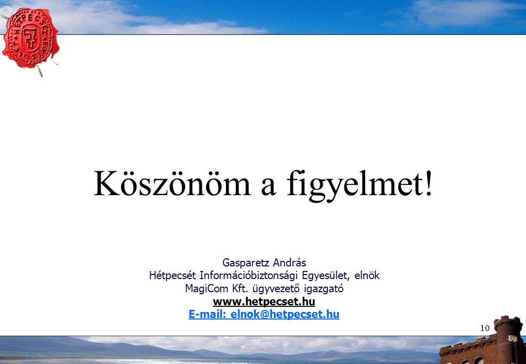 10 Köszönöm a figyelmet! Gasparetz András Hétpecsét Információbiztonsági Egyesület, elnök MagiCom Kft. ügyvezető igazgató www.hetpecset.hu E-mail: eln