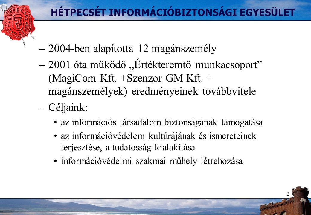 """3 HÉTPECSÉT INFORMÁCIÓBIZTONSÁGI EGYESÜLET Programunk lényeges elemei –Szakmai fórumok szervezése –ISO/IEC 27000 (BS7799) szabvány további terjesztése –Információbiztonsági hírlevél az Egyesület tagjainak (!) –Díjak alapítása és odaítélése Év információbiztonsági újságírója"""" """"Év információbiztonsági diplomadolgozata Jelentkezés az egyesület pártoló tagjai közé –Magánszemélyek és jogi személyek is, új belépő: Balabit –Belépési nyilatkozat kitöltésével letölthető www.hetpecset.hu –ról A szakmai fórum anyagában szerepel"""