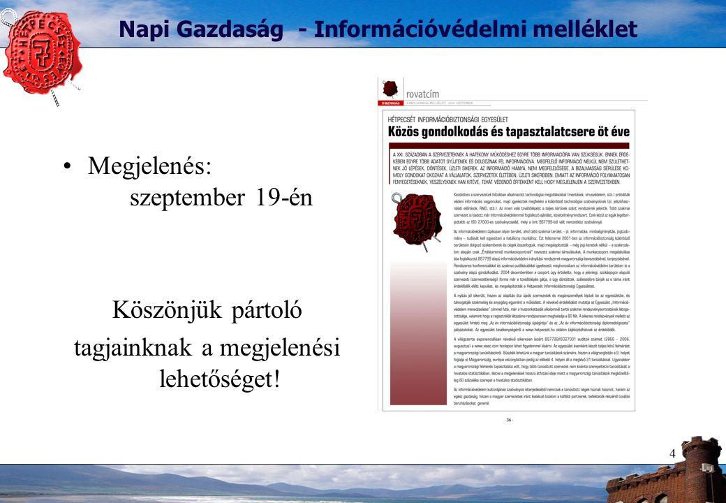 4 Napi Gazdaság - Információvédelmi melléklet Megjelenés: szeptember 19-én Köszönjük pártoló tagjainknak a megjelenési lehetőséget!