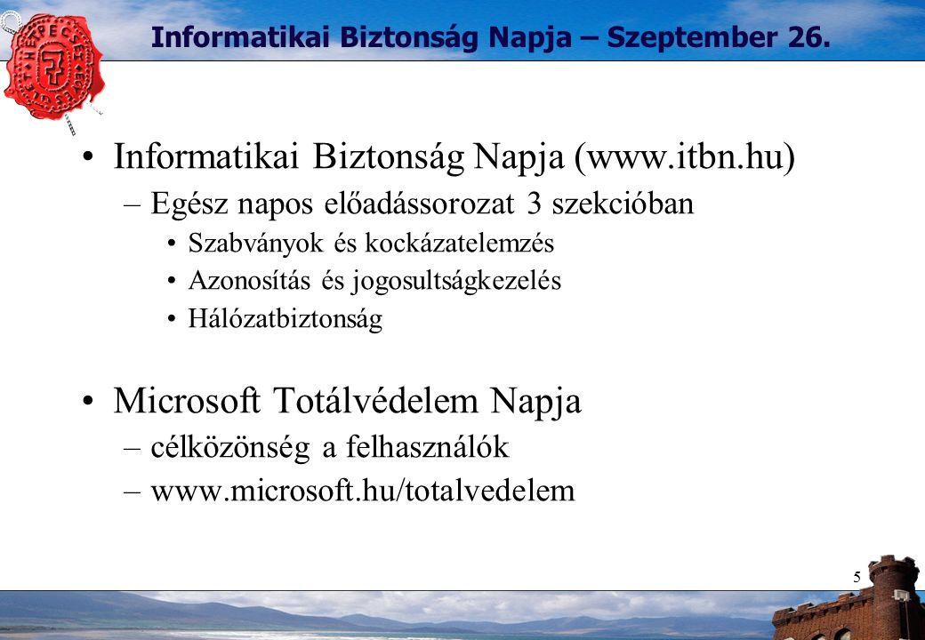 5 Informatikai Biztonság Napja – Szeptember 26. Informatikai Biztonság Napja (www.itbn.hu) –Egész napos előadássorozat 3 szekcióban Szabványok és kock