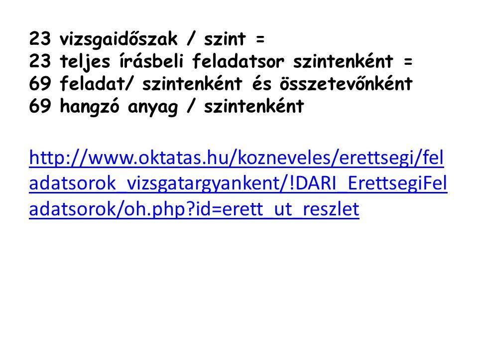 23 vizsgaidőszak / szint = 23 teljes írásbeli feladatsor szintenként = 69 feladat/ szintenként és összetevőnként 69 hangzó anyag / szintenként http://www.oktatas.hu/kozneveles/erettsegi/fel adatsorok_vizsgatargyankent/!DARI_ErettsegiFel adatsorok/oh.php?id=erett_ut_reszlet
