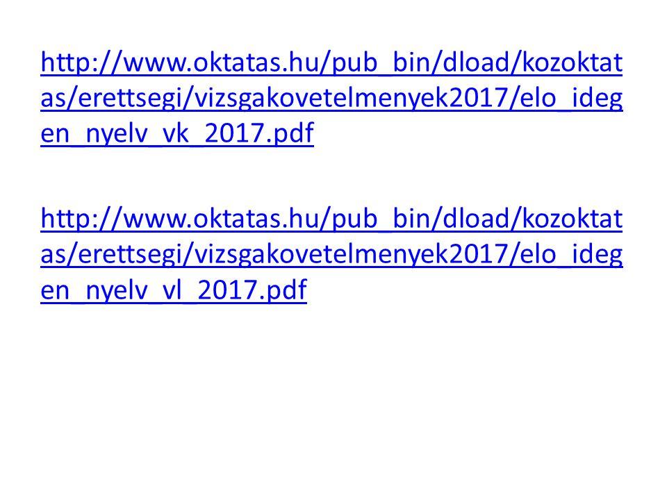 http://www.oktatas.hu/pub_bin/dload/kozoktat as/erettsegi/vizsgakovetelmenyek2017/elo_ideg en_nyelv_vk_2017.pdf http://www.oktatas.hu/pub_bin/dload/kozoktat as/erettsegi/vizsgakovetelmenyek2017/elo_ideg en_nyelv_vl_2017.pdf