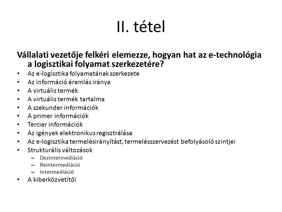 II. tétel Vállalati vezetője felkéri elemezze, hogyan hat az e-technológia a logisztikai folyamat szerkezetére? Az e-logisztika folyamatának szerkezet