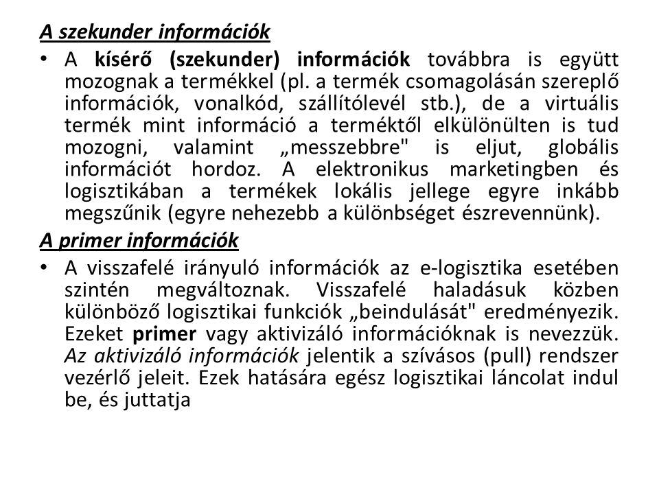 A szekunder információk A kísérő (szekunder) információk továbbra is együtt mozognak a termékkel (pl.