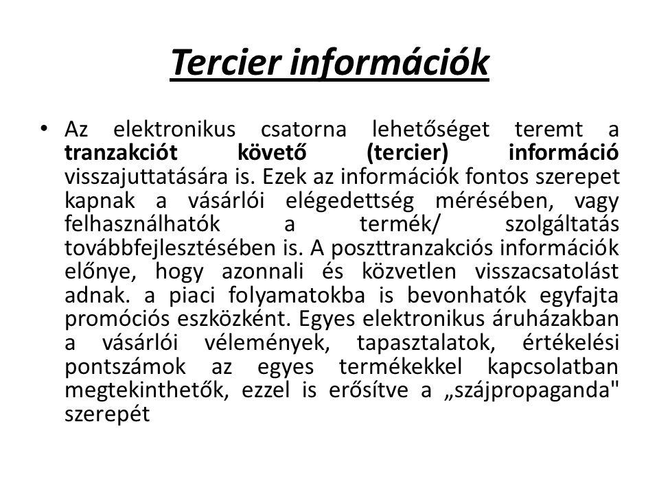Tercier információk Az elektronikus csatorna lehetőséget teremt a tranzakciót követő (tercier) információ visszajuttatására is.
