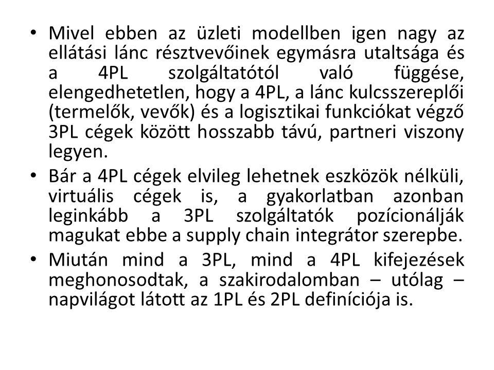 Mivel ebben az üzleti modellben igen nagy az ellátási lánc résztvevőinek egymásra utaltsága és a 4PL szolgáltatótól való függése, elengedhetetlen, hogy a 4PL, a lánc kulcsszereplői (termelők, vevők) és a logisztikai funkciókat végző 3PL cégek között hosszabb távú, partneri viszony legyen.