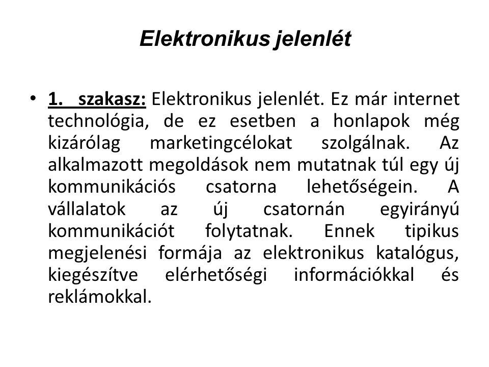 Elektronikus jelenlét 1.szakasz: Elektronikus jelenlét.