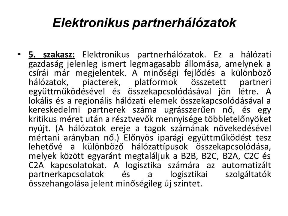 Elektronikus partnerhálózatok 5. szakasz: Elektronikus partnerhálózatok.