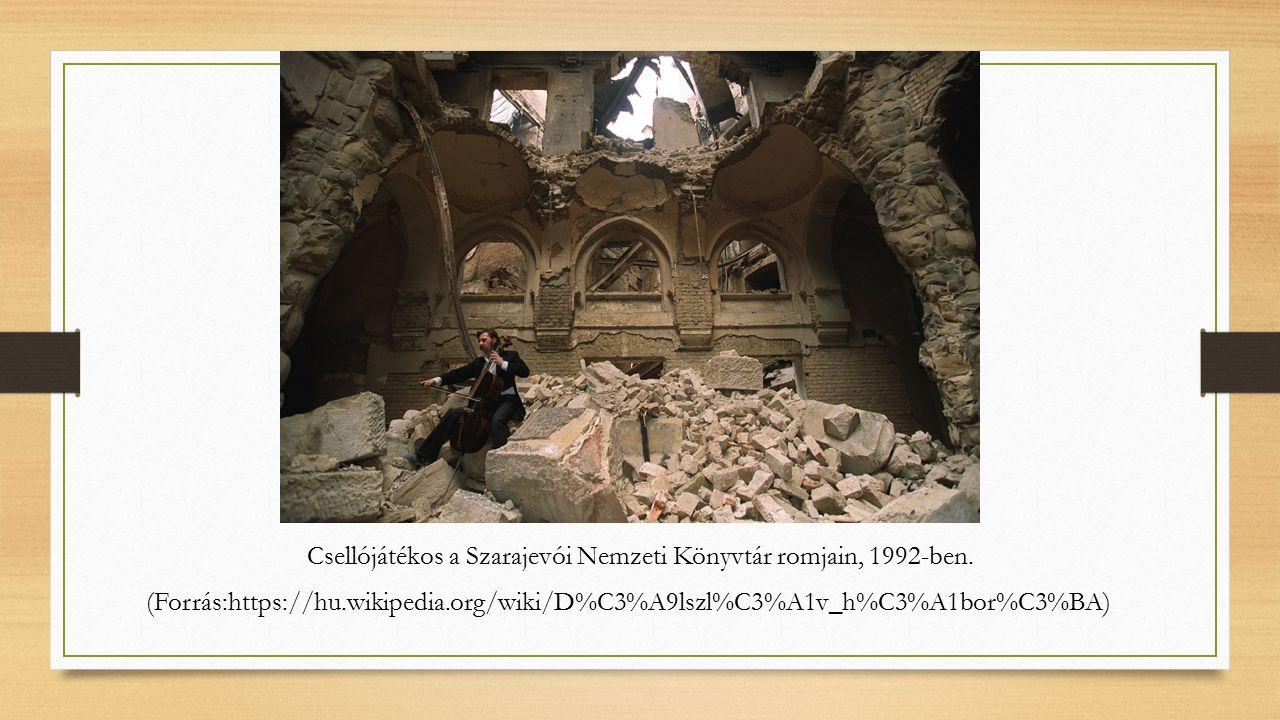 Csellójátékos a Szarajevói Nemzeti Könyvtár romjain, 1992-ben.