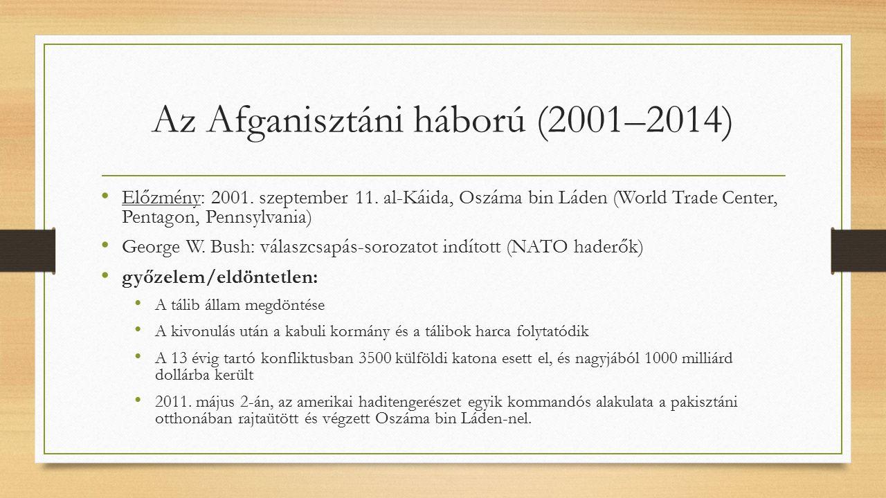 Az Afganisztáni háború (2001–2014) Előzmény: 2001.