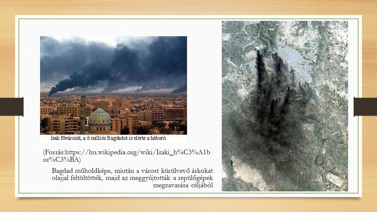 (Forrás:https://hu.wikipedia.org/wiki/Iraki_h%C3%A1b or%C3%BA) Bagdad műholdképe, miután a várost kürülvevő árkokat olajjal feltöltötték, majd az meggyújtották a repülőgépek megzavarása céljából
