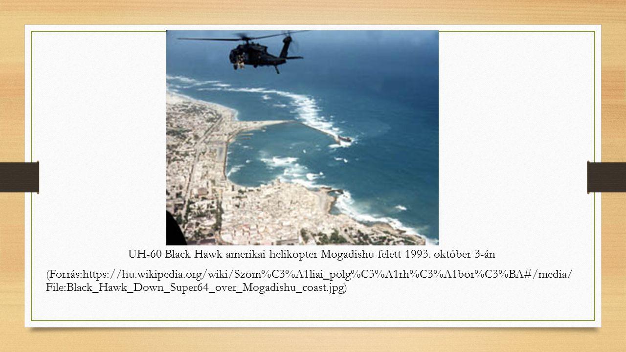 UH-60 Black Hawk amerikai helikopter Mogadishu felett 1993.