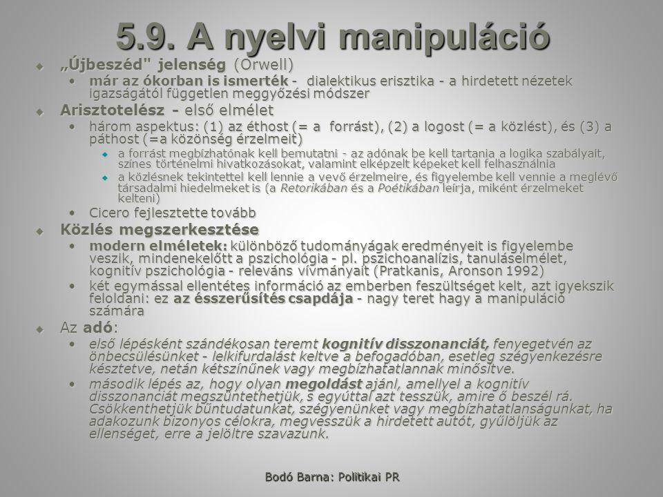 Bodó Barna: Politikai PR 5.9.