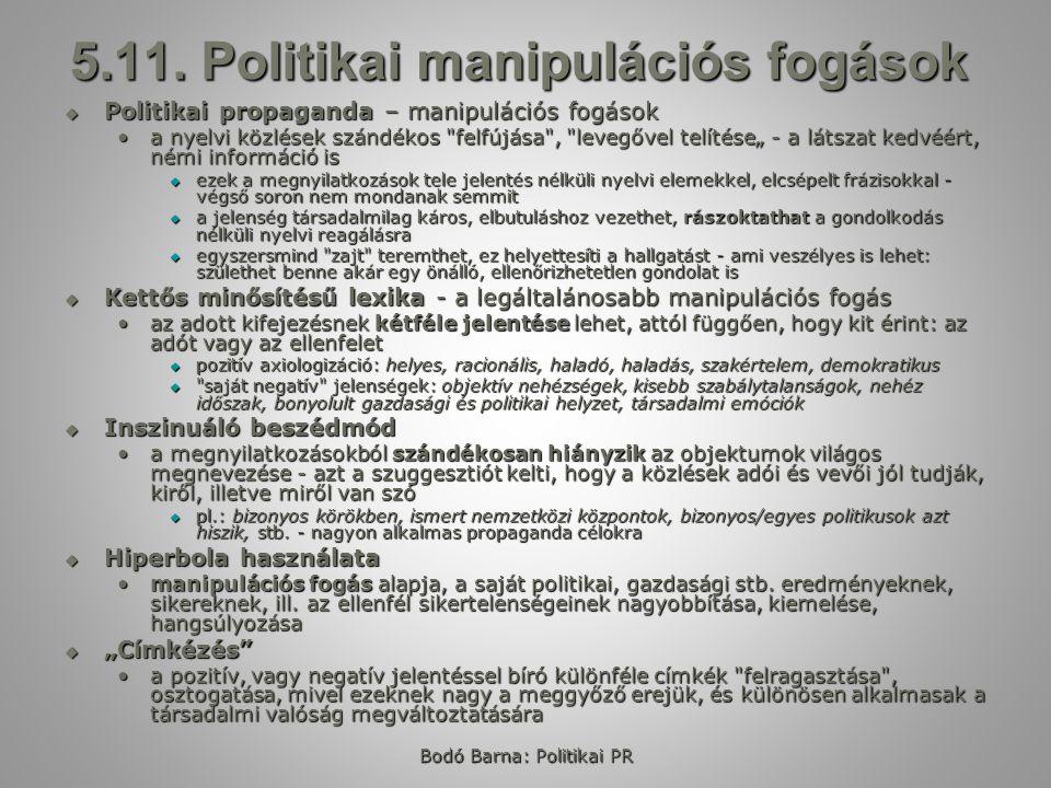 Bodó Barna: Politikai PR 5.11.