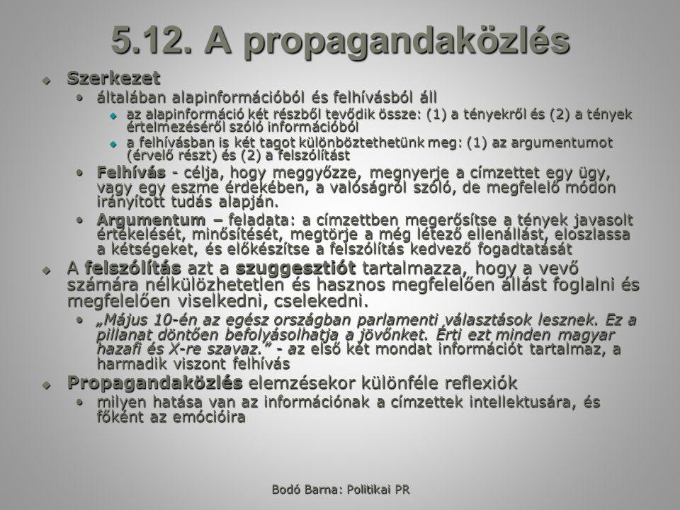 Bodó Barna: Politikai PR 5.12.